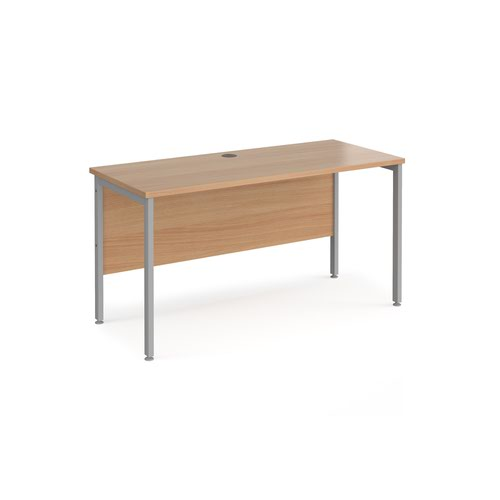 Maestro 25 straight desk 1400mm x 600mm - silver H-frame leg and beech top