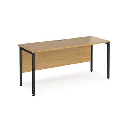 Maestro 25 straight desk 1600mm x 600mm - black H-frame leg and oak top