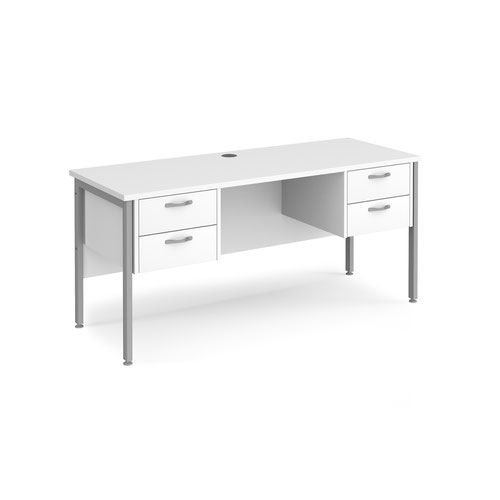 Maestro 25 H-Frame 600mm deep desk with 2 x 2 drawer peds