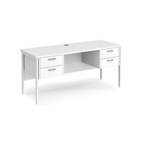 Maestro 25 straight desk 1600mm x 600mm with two x 2 drawer pedestals - white H-frame leg and white top