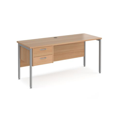 Maestro 25 straight desk 1600mm x 600mm with 2 drawer pedestal - silver H-frame leg and beech top