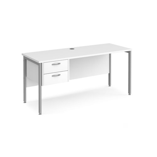 Maestro 25 straight desk 1600mm x 600mm with 2 drawer pedestal - silver H-frame leg and white top