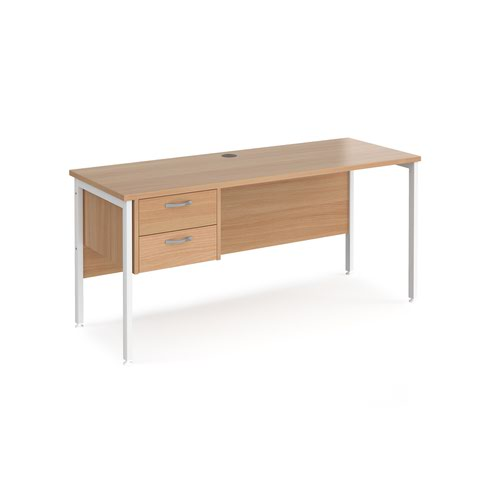 Maestro 25 straight desk 1600mm x 600mm with 2 drawer pedestal - white H-frame leg and beech top