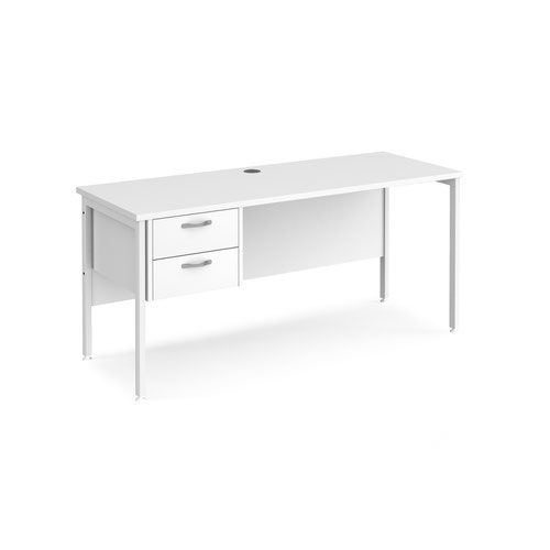 Maestro 25 straight desk 1600mm x 600mm with 2 drawer pedestal - white H-frame leg and white top