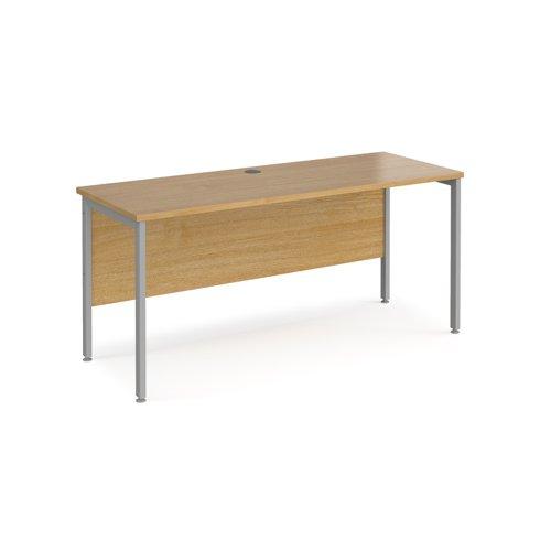 Maestro 25 straight desk 1600mm x 600mm - silver H-frame leg and oak top