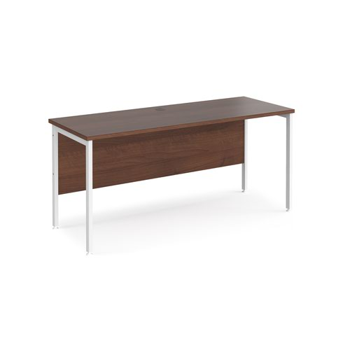 Maestro 25 straight desk 1600mm x 600mm - white H-frame leg and walnut top