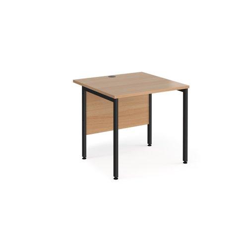 Maestro 25 straight desk 800mm x 800mm - black H-frame leg and beech top