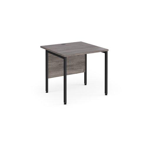 Maestro 25 straight desk 800mm x 800mm - black H-frame leg and grey oak top