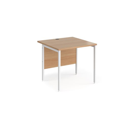 Maestro 25 straight desk 800mm x 800mm - white H-frame leg and beech top