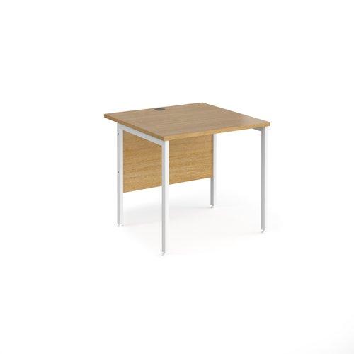 Maestro 25 straight desk 800mm x 800mm - white H-frame leg and oak top