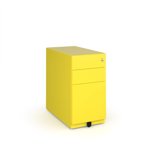 Bisley slimline steel pedestal 300mm wide - yellow