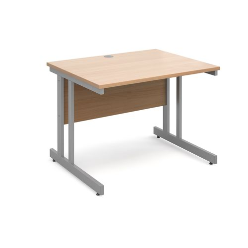 Momento straight desk 1000mm x 800mm - silver cantilever frame and beech top