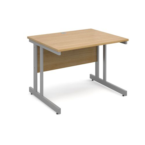 Momento straight desk 1000mm x 800mm - silver cantilever frame and oak top