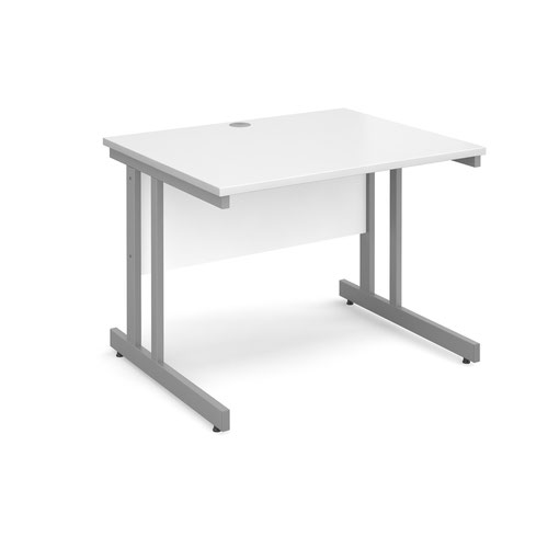 Momento straight desk 1000mm x 800mm - silver cantilever frame and white top
