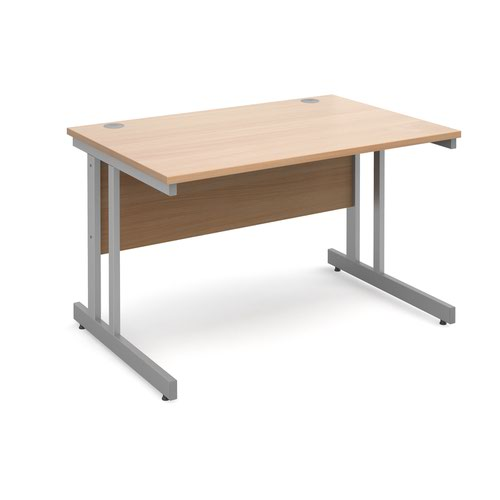 Momento straight desk 1200mm x 800mm - silver cantilever frame and beech top