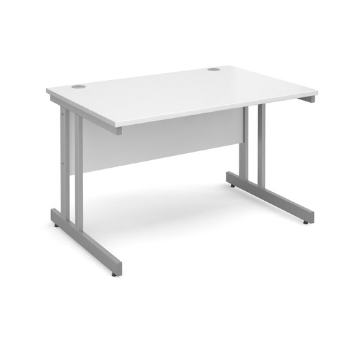 Momento straight desk 1200mm x 800mm - silver cantilever frame and white top