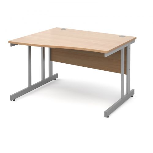 Momento left hand wave desk 1200mm - silver cantilever frame and beech top