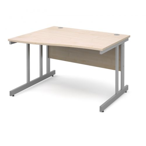 Momento left hand wave desk 1200mm - silver cantilever frame and maple top