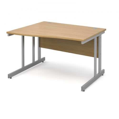 Momento left hand wave desk 1200mm - silver cantilever frame and oak top