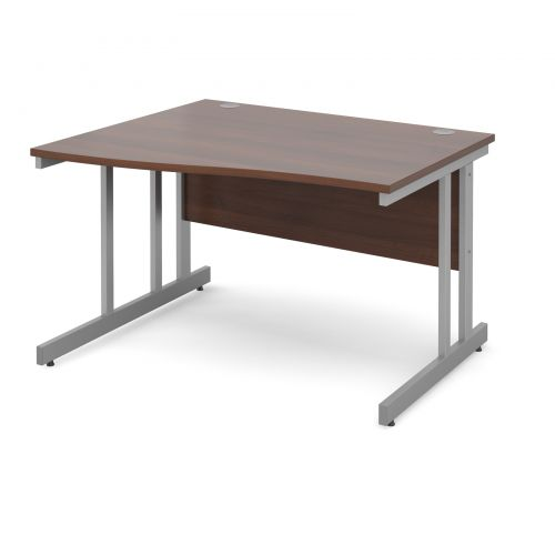 Momento left hand wave desk 1200mm - silver cantilever frame and walnut top