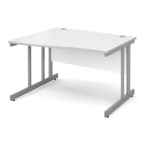 Momento left hand wave desk 1200mm - silver cantilever frame and white top