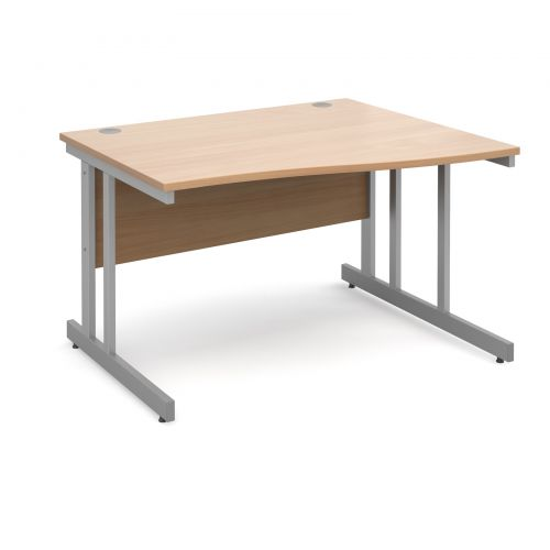 Momento right hand wave desk 1200mm - silver cantilever frame and beech top