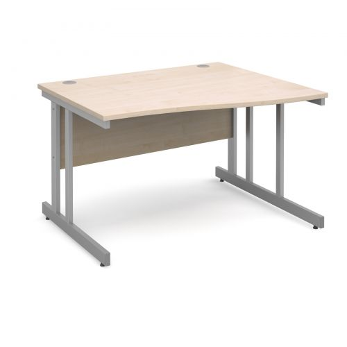 Momento right hand wave desk 1200mm - silver cantilever frame and maple top