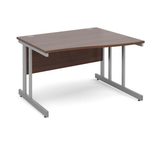 Momento right hand wave desk 1200mm - silver cantilever frame and walnut top