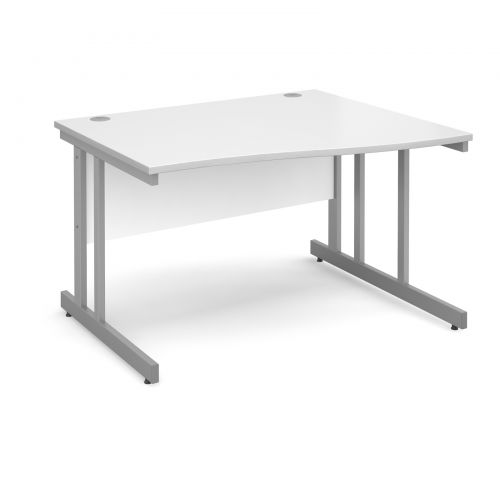 Momento right hand wave desk 1200mm - silver cantilever frame and white top