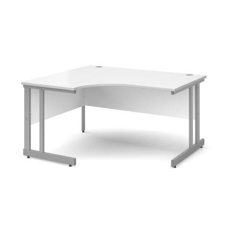 Momento left hand ergonomic desk 1400mm - silver cantilever frame and white top