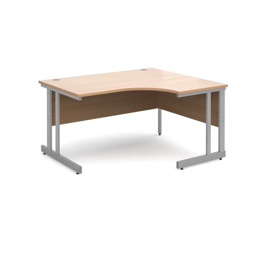 Momento right hand ergonomic desk 1400mm - silver cantilever frame and beech top