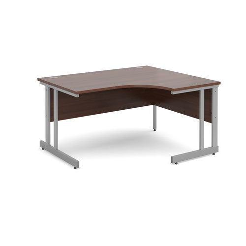 Momento right hand ergonomic desk 1400mm - silver cantilever frame and walnut top
