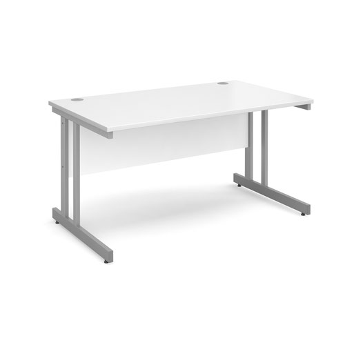 Momento straight desk 1400mm x 800mm - silver cantilever frame and white top