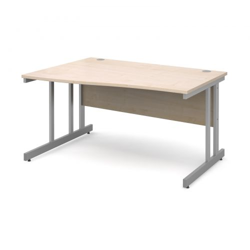 Momento left hand wave desk 1400mm - silver cantilever frame and maple top
