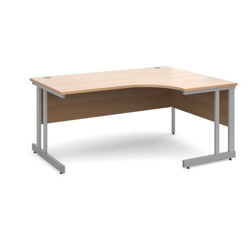 Momento right hand ergonomic desk 1600mm - silver cantilever frame and beech top