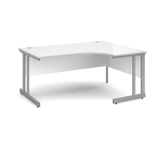 Momento right hand ergonomic desk 1600mm - silver cantilever frame and white top