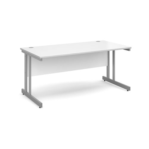 Momento straight desk 1600mm x 800mm - silver cantilever frame and white top