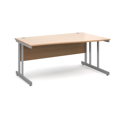 Momento right hand wave desk 1600mm - silver cantilever frame and beech top