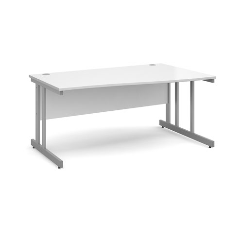 Momento right hand wave desk 1600mm - silver cantilever frame and white top