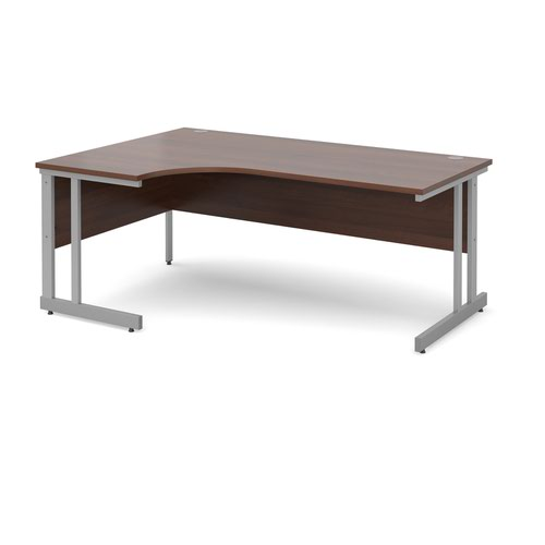 Momento left hand ergonomic desk 1800mm - silver cantilever frame and walnut top