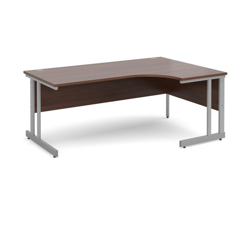 Momento right hand ergonomic desk 1800mm - silver cantilever frame and walnut top