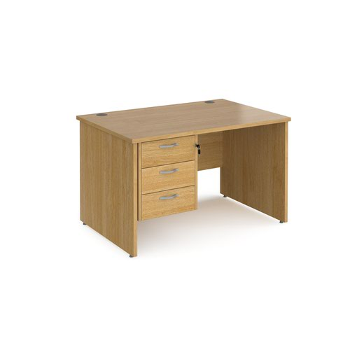 Maestro 25 straight desk 1200mm x 800mm with 3 drawer pedestal - oak top with panel end leg