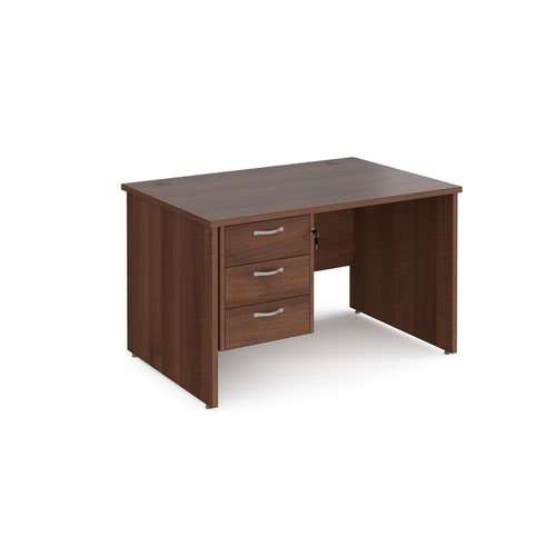Maestro 25 straight desk 1200mm x 800mm with 3 drawer pedestal - walnut top with panel end leg