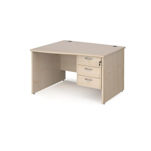Maestro 25 left hand wave desk 1200mm wide with 3 drawer pedestal - maple top with panel end leg