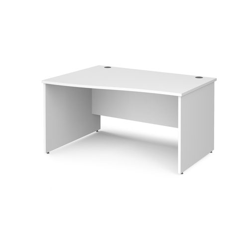 Maestro 25 left hand wave desk 1400mm wide - white top with panel end leg