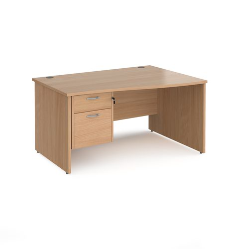 Maestro 25 right hand wave desk 1400mm wide with 2 drawer pedestal - beech top with panel end leg
