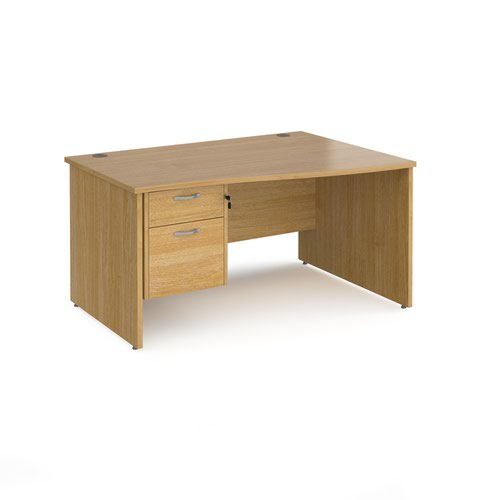 Maestro 25 right hand wave desk 1400mm wide with 2 drawer pedestal - oak top with panel end leg