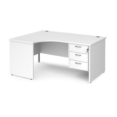 Maestro 25 panel end left hand ergonomic desk with 3 drawer ped