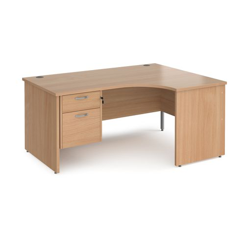 Maestro 25 right hand ergonomic desk 1600mm wide with 2 drawer pedestal - beech top with panel end leg