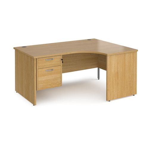 Maestro 25 right hand ergonomic desk 1600mm wide with 2 drawer pedestal - oak top with panel end leg